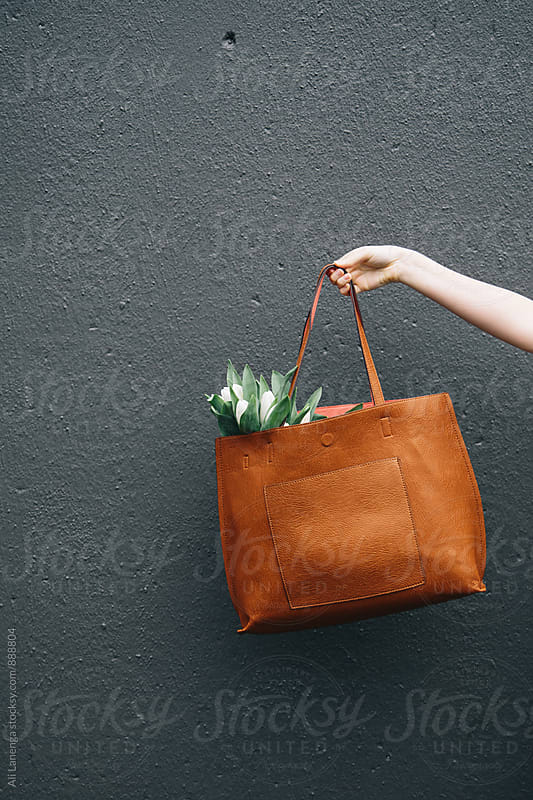 Tote bag with tulips by Ali Lanenga for Stocksy United