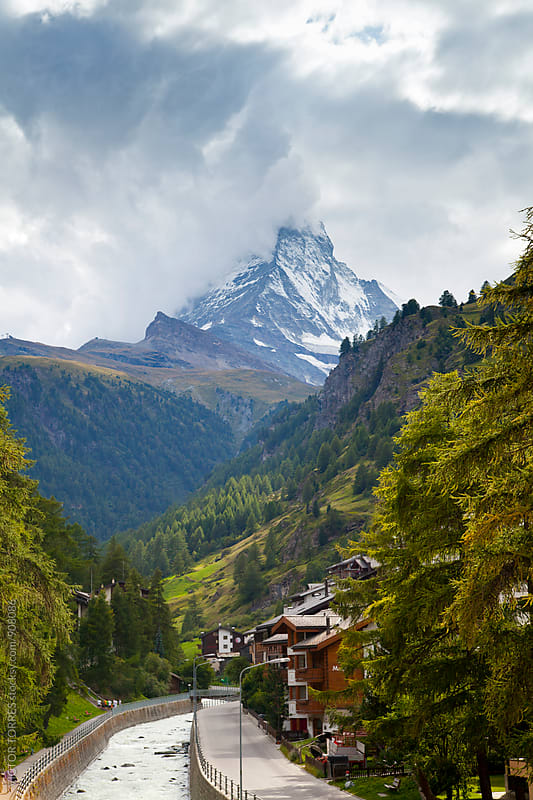 Village of Zermatt in Switzerland with The Matterhorn at background by VICTOR TORRES for Stocksy United