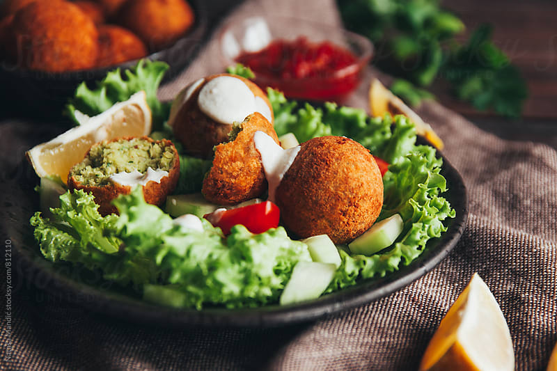 Salad with chickpea falafel by Nataša Mandić for Stocksy United
