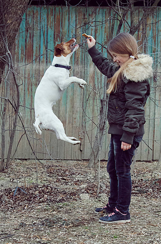 Cute blonde girl and jumping dog by Marija Anicic for Stocksy United