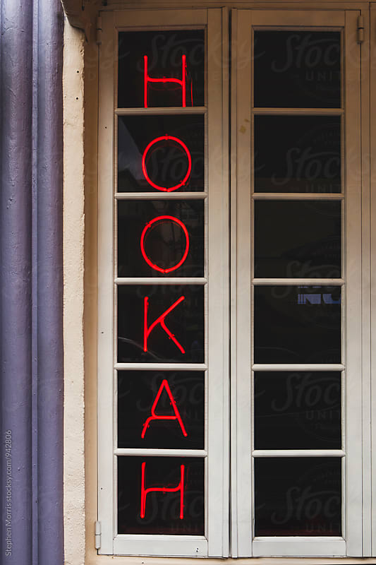 Hookah Sign in Window by Stephen Morris for Stocksy United