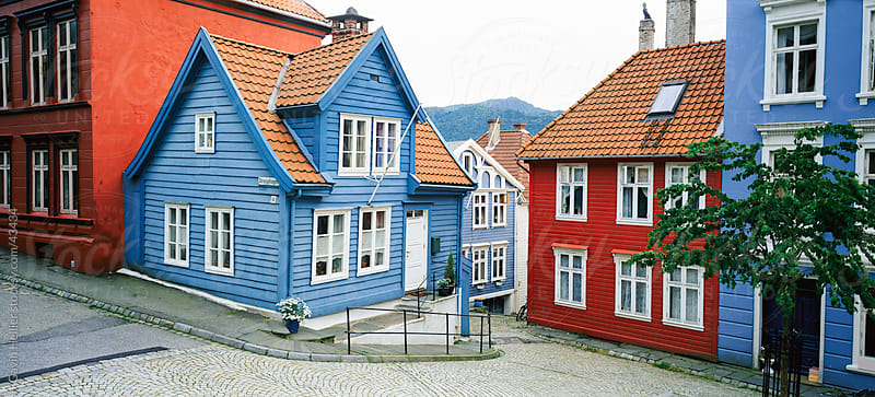 Wooden houses in central Bergen, Bergen, Western Fjords, Norway, Scandinavia, Europe by Gavin Hellier for Stocksy United