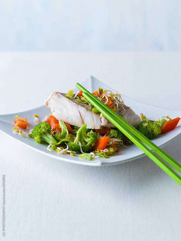 Fillet of codfish with vegetable by J.R. PHOTOGRAPHY for Stocksy United