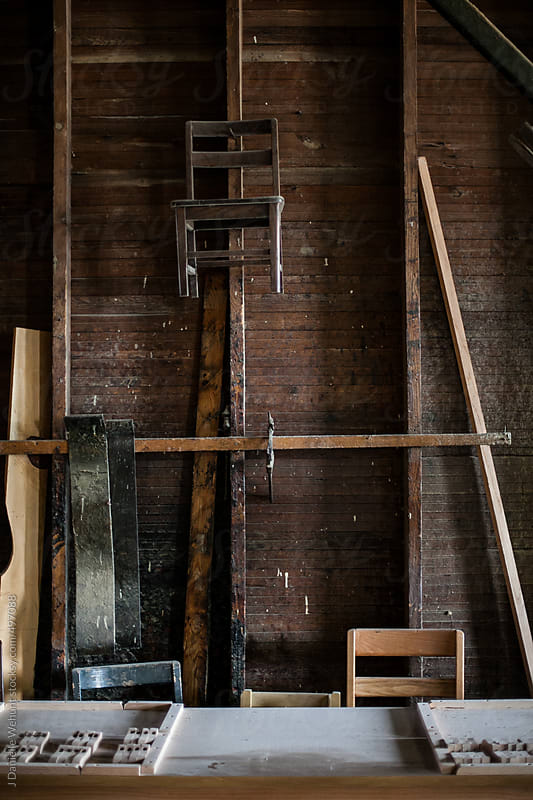 Raw interior of chair woodworking workshop by J Danielle Wehunt for Stocksy United