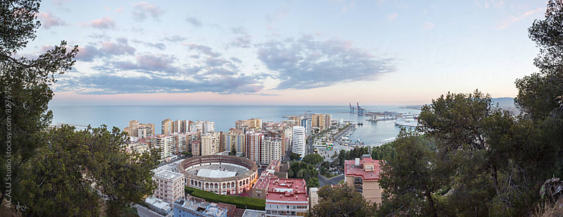 Panoramic of Malaga city from mountain by ACALU Studio for Stocksy United