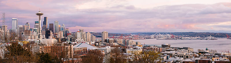 Seattle Space Needle and Skyline Panorama by Simon DesRochers for Stocksy United
