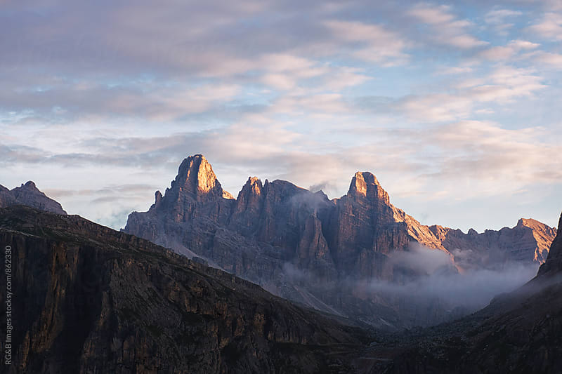 Beautiful landscape of mountain peaks in the sunrise by RG&B Images for Stocksy United