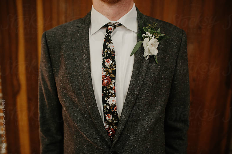 Groom Floral Tie by Sidney Morgan for Stocksy United