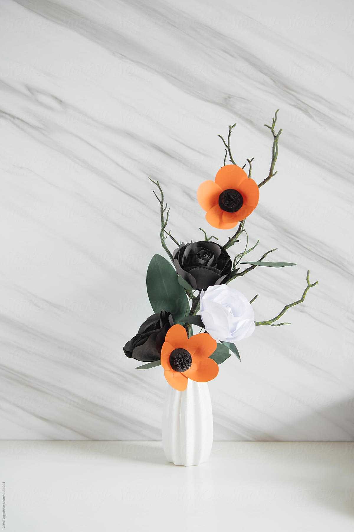 Autumn Halloween Simple Paper Flowers Arrangement By Alita Ong Paper Floral Arrangement Stocksy United