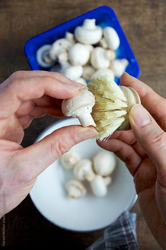 Cleaning a button mushroom by Harald Walker for Stocksy United