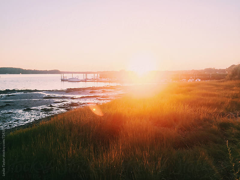 Sunset On The Piscataqua River In New Hampshire by Leslie Taylor for Stocksy United