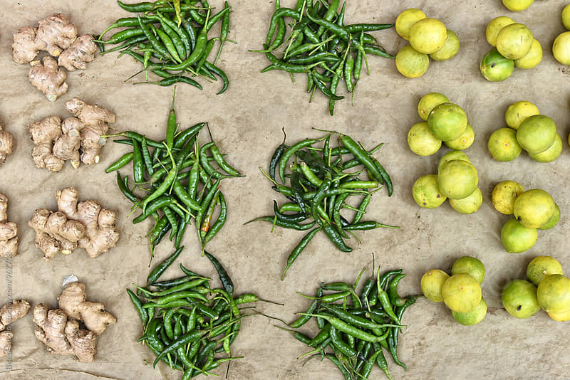 Ginger, green pepper and limes by Bisual Studio for Stocksy United