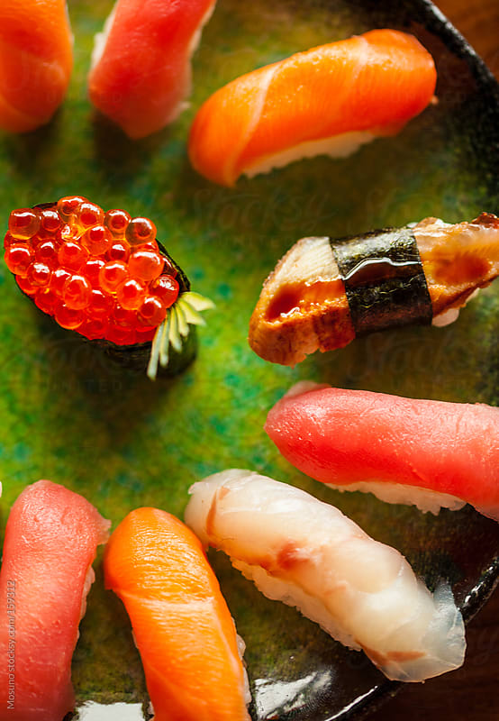 Colourful Sushi on a Plate by Mosuno for Stocksy United