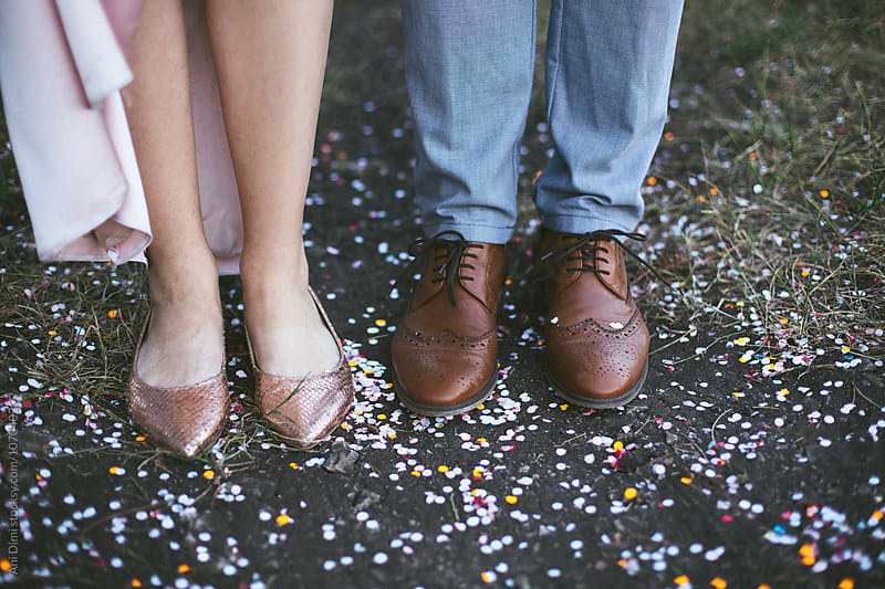 Bride and Groom standing outdoors by Ani Dimi for Stocksy United