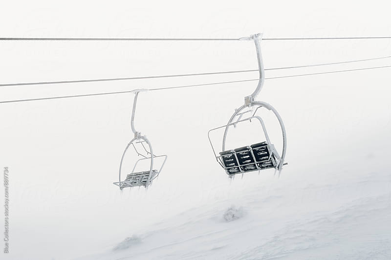 Frozen chairlift  by Jordi Rulló for Stocksy United