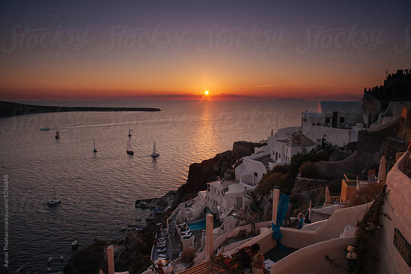 Sunset in Oia, Santorini by Aaron Thomas for Stocksy United