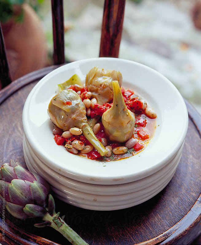 Bean and artichoke stew by J.R. PHOTOGRAPHY for Stocksy United