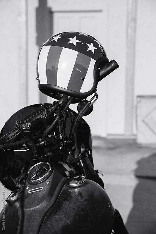 Motorcycle american flag helmet by Curtis Kim for Stocksy United