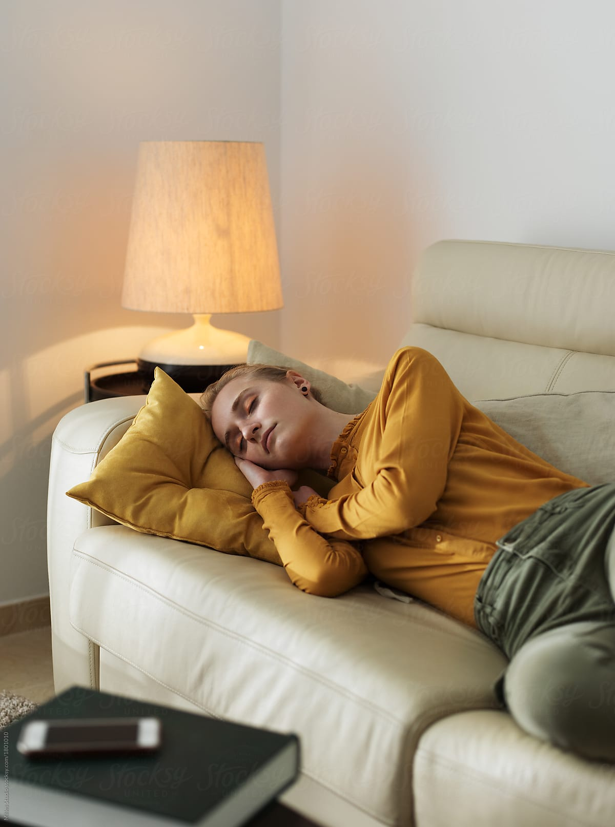 Exceptional Dreaming Young Girl Sleeping In Living Room