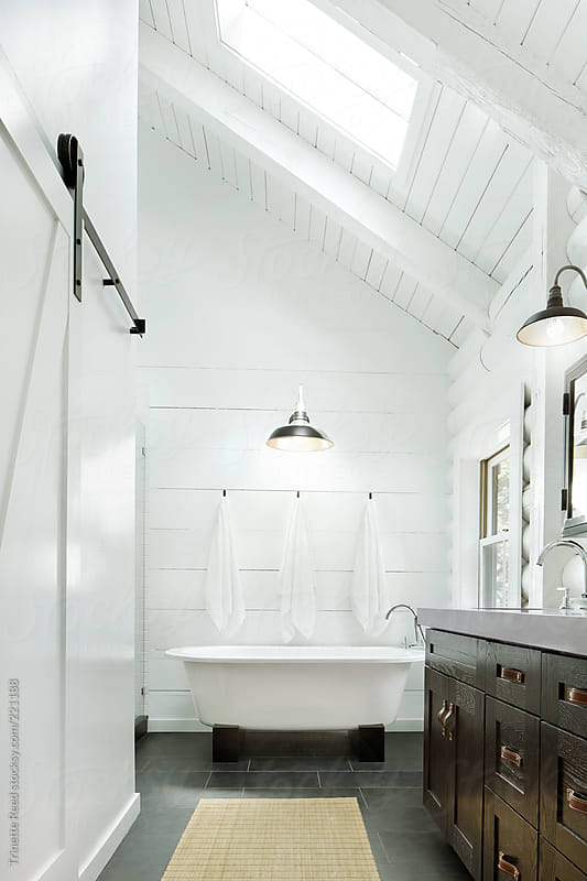 Architecture image of modern design bathroom  by Trinette Reed for Stocksy United