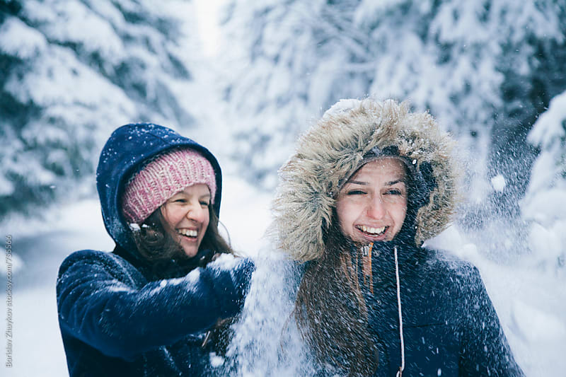 Girlfriends after snowball game by Borislav Zhuykov for Stocksy United