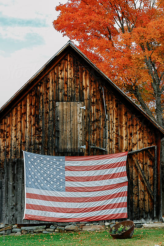 Vermont Barn with American Flag by Raymond Forbes LLC for Stocksy United