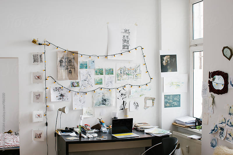 White Bright Artist Studio With Original Artworks on Wall by Julien L. Balmer for Stocksy United