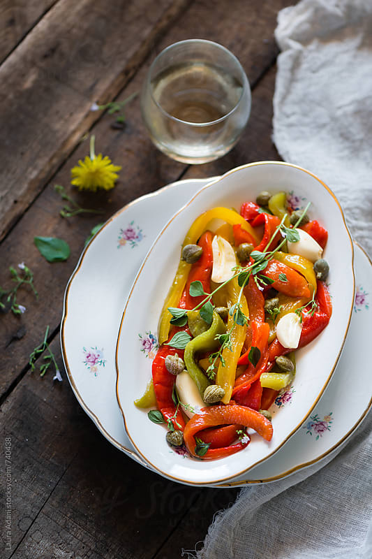 sweet peppers salad  by Laura Adani for Stocksy United