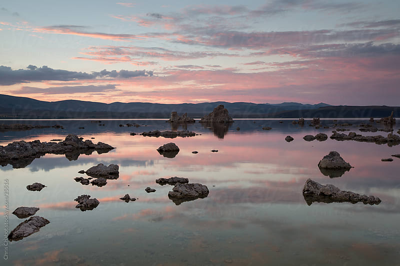 Sun setting over the Tufa's of Mono Lake by Chris Chabot for Stocksy United