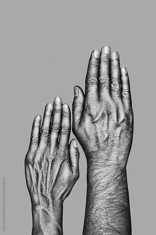 Hands of a mature couple. Black and white by BONNINSTUDIO for Stocksy United
