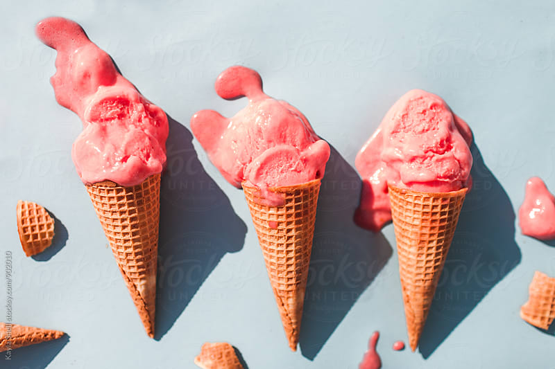 Strawberry Ice Cream Cone by Kayla Snell for Stocksy United