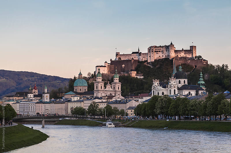 Salzburg at Dusk, Austria by Tom Uhlenberg for Stocksy United