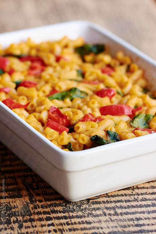 Macaroni and Cheese with Spinach and Red Bell Pepper by Harald Walker for Stocksy United