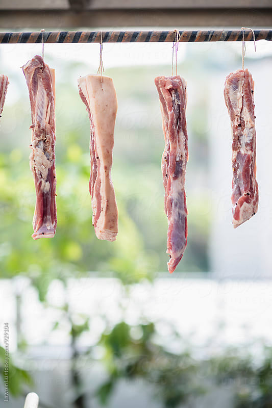 Several pieces of fat pork hanging on rope outdoor in daylight by Lawren Lu for Stocksy United