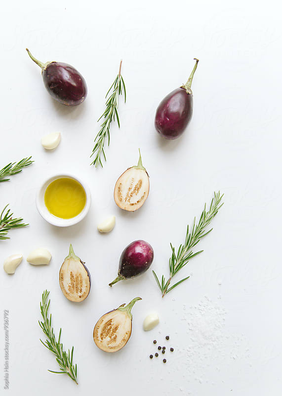Roasted Eggplants Flatlay by Sophia Hsin for Stocksy United