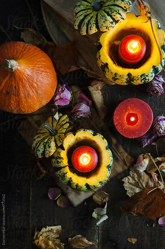 Fall still life: pumpkins,candles and dried flowers with autumn leaves on table. by Darren Muir for Stocksy United