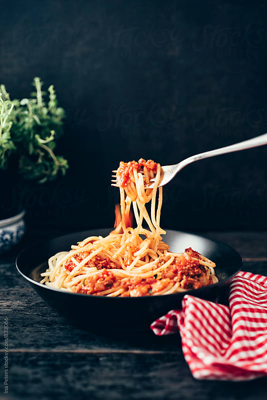 Food: Vegetarian Spaghetti Bolognese  by Ina Peters for Stocksy United