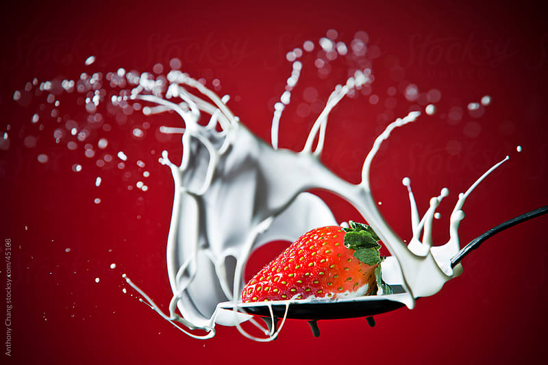 Strawberry Splash in Milk by Anthony Chang for Stocksy United
