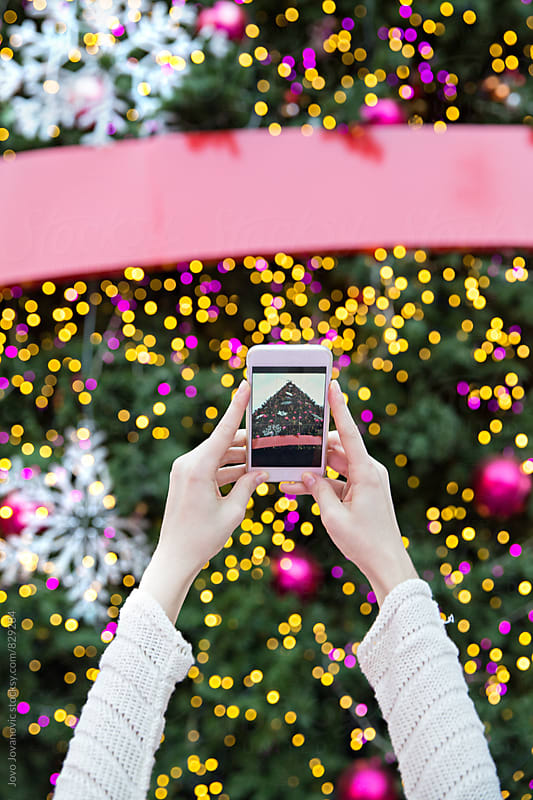 Person taking a photo of a Christmas tree by Jovo Jovanovic for Stocksy United