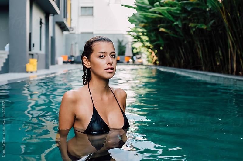 Beautiful Female Model Posing in the Pool by Nemanja Glumac for Stocksy United