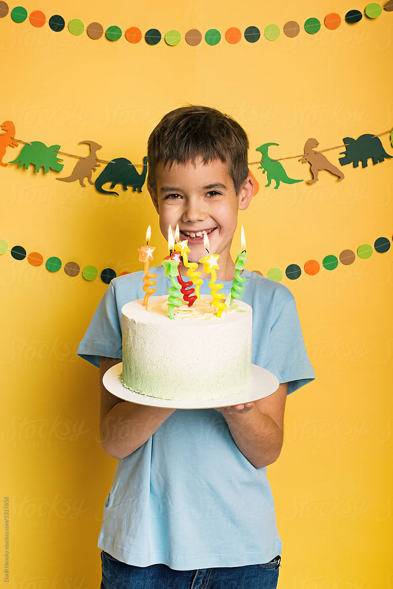 Cool Little Boy With Birthday Cake By Danil Nevsky Stocksy United Personalised Birthday Cards Veneteletsinfo