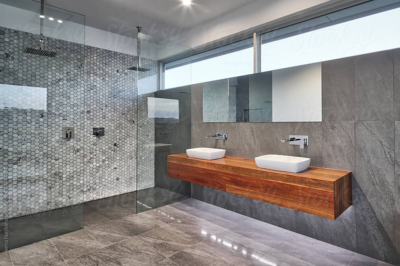 Modern bathroom interior by Rowena Naylor for Stocksy United