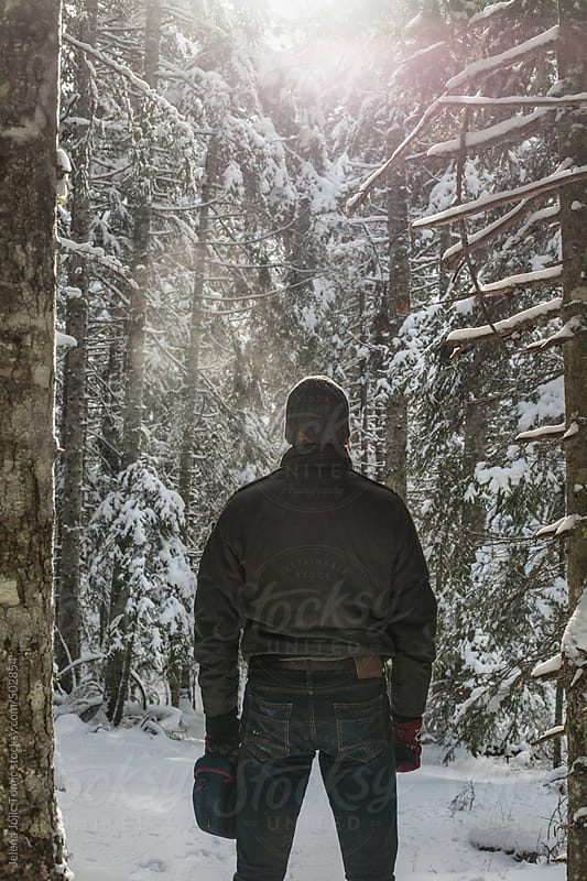 Winter and snow in the thick forest by Jelena Jojic Tomic for Stocksy United