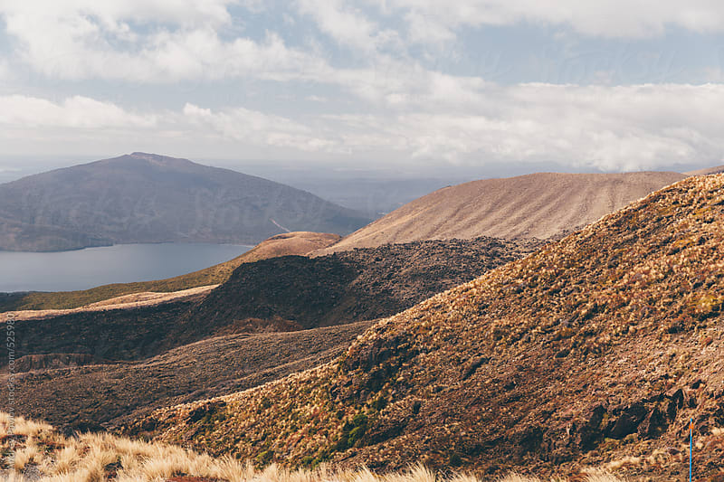 View from Tongariro mount at lake Rotoaira by Andrey Pavlov for Stocksy United