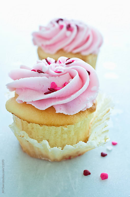 Two Pink Cupcakes by Jill Chen for Stocksy United