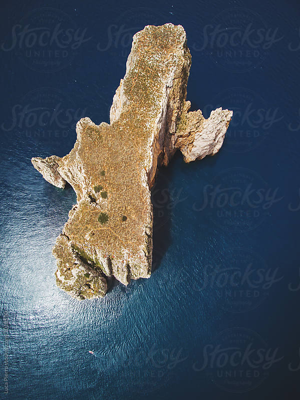 Aerial view of  Pan di Zucchero little island from above by Luca Pierro for Stocksy United