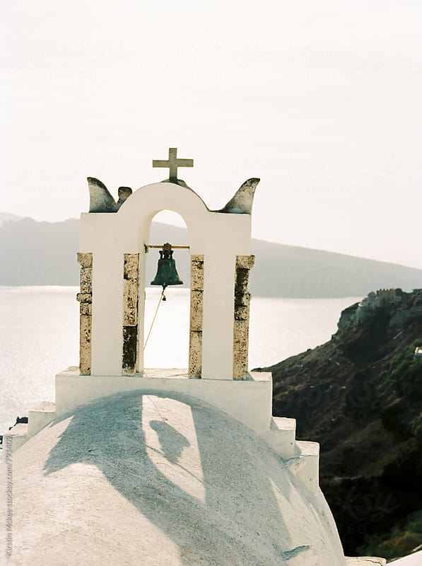 One church bell in Santorini by Kirstin Mckee for Stocksy United