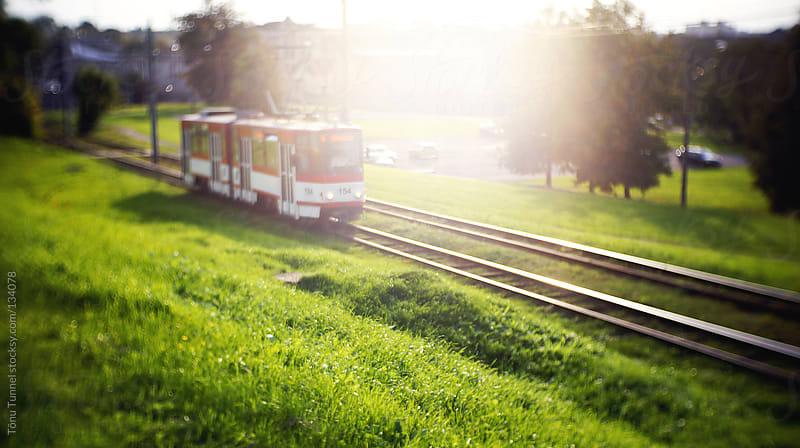 A tram in sunlight by Tõnu Tunnel for Stocksy United