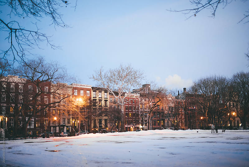 Snow Covered Tompkins Square Park at Winter in East Village New York City by Joselito Briones for Stocksy United