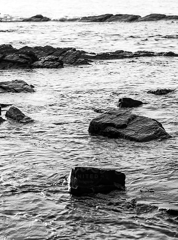monochrome shot of rocks by MEM Studio for Stocksy United
